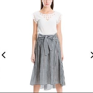 NWT Max Studio Navy/White Gingham Skirt